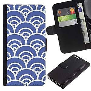 EJOY---La carpeta del tirón la caja de cuero de alta calidad de la PU Caso protector / Apple Iphone 6 PLUS 5.5 / --Blue Waves Artístico Wallpaper Vintage