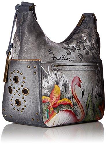 Classic Handpainted Hobo Anuschka Flamingos Flamboyant Flamingos Leather Handpainted Leather Flamboyant Anuschka BnXqxwR47f