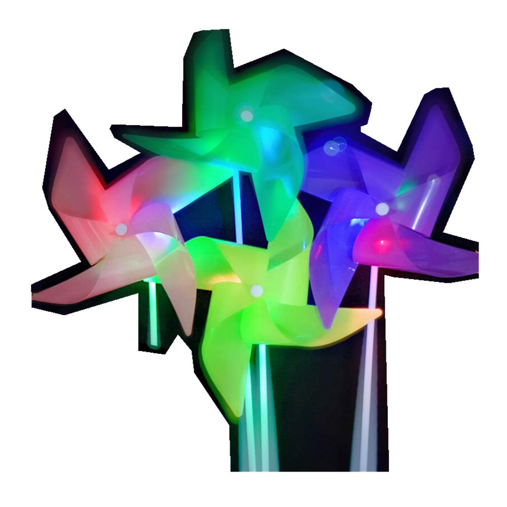 ASWCOWY Pinwheels Garden Colourful LED Light Windmills Whirl Pinwheels Wind Spinner Whirligig Bright Blended Rainbow Design Mylar Material LED Light Outdoor Toy (5 pcs)