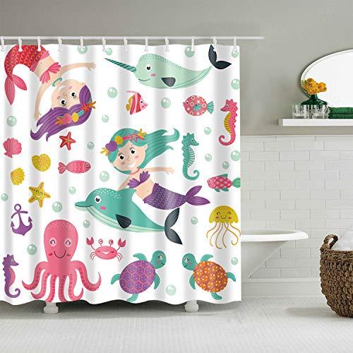 (Hibbent Cartoon Mermaid Decor Shower Curtain, with Marine Animal Starfish Cuttlefish Tortoise Cetacean Cute for Kids Bathroom Curtain - 100% Polyester - 72 x 72 Inch)