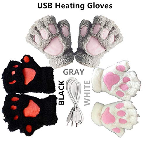 3 Pair DECVO Winter Powered Warmer Thicken Paw Fingerless USB Heated Gloves Plush Cold-Proof Knitted Half Finger Laptop Mittens USB Warm Gloves Women Teen Girls Best Winter Gift (Black+Gray+White)