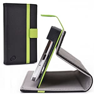 Cush Cases [PASSPORT EDITION] PU Leather Case for the Oppo N1 mini Smartphone - Black / Green
