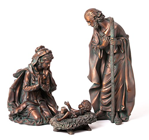 3-Piece Bronze Finish Mary, Joseph and Baby Jesus Outdoor Safe Garden Nativity Set