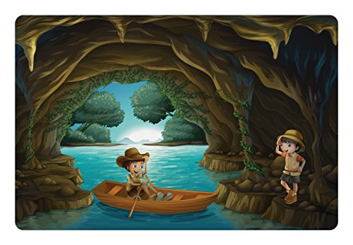Explore Pet Mats for Food and Water by Ambesonne, Girl and Boy in a Cave with River and Rowboat Boy Scouts Cartoon Style Illustration, Rectangle Non-Slip Rubber Mat for Dogs and Cats, (Lovers Rowboat)