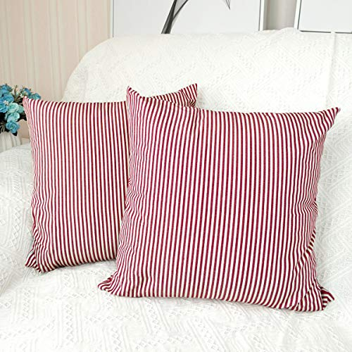 Dansfeng Classic Retro Checkers Plaid Cotton Canvas Square Throw Pillow Covers Christmas Decoration Cushion Case for Sofa Bedroom Car 18 x 18 Inch(Red White Stripe)
