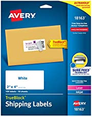 Avery Shipping Address Labels, Laser & Inkjet Printers, 100 Labels, 2x4 Labels, Permanent, 5 Packs (18163)