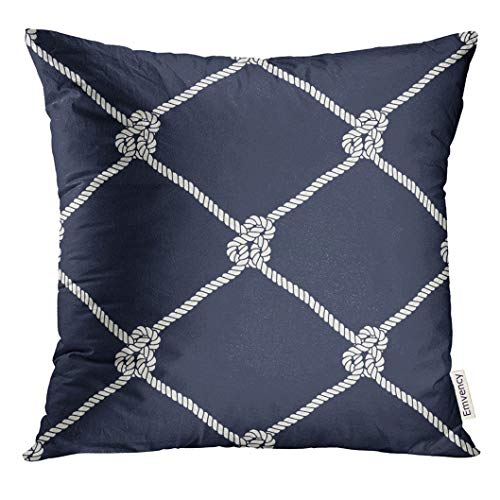 (UPOOS Throw Pillow Cover Nautical Rope Pattern Endless Navy with White Fishing Net and Marine Knots on Dark Blue Trendy Maritime Style Decorative Pillow Case Home Decor Square 16x16 Inches)