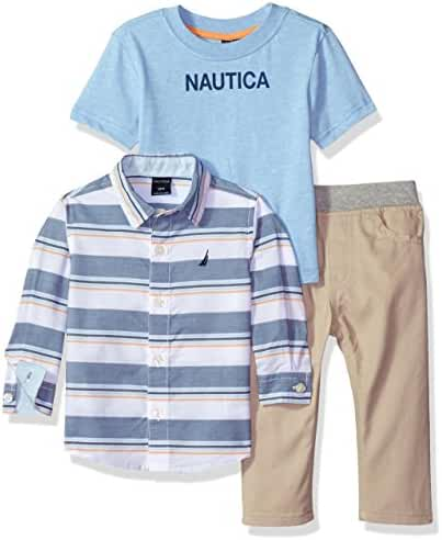 Nautica Baby Boys' Three Piece Set with Long Sleeve Plaid Woven Shirt, Tee and Pant