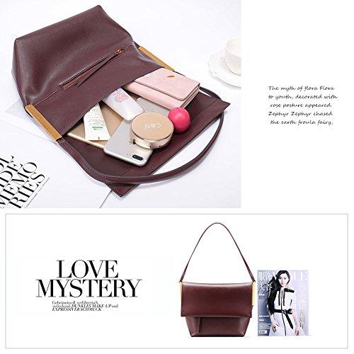 Burgundy Cross for Genuine Yoome Hobo Handbags Soft body Leather Women Satchel Bag Purse Handbag Messenger 6ZH6Uf