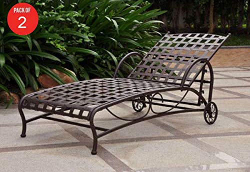 (International Caravan Santa Fe Nailhead Single Multi Position Chaise Lounge (Pack of 2) )