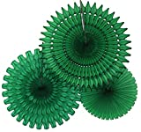 Hanging Honeycomb Tissue Fan, Dark Green, Set of 3 (13 inch, 18 inch, 21 inch)