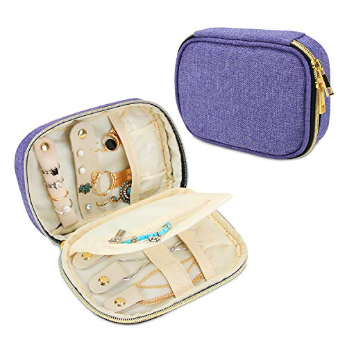 Jewelry Case Ladies (Teamoy Small Jewelry Travel Case, Portable Jewelry Organizer Bag for Earrings, Necklace, Rings and More, Small, Purple-(Bag Only))