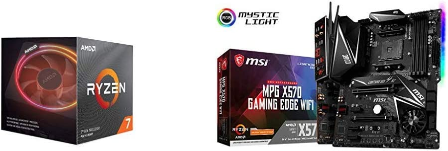 AMD Ryzen 7 3800X 8-Core, 16-Thread Unlocked Desktop Processor with Wraith Prism LED Cooler and MSI MPG X570 Gaming Edge WiFi Motherboard