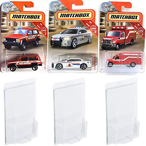 2019 Emergency Matchbox Vehicles Rescue Mission MBX Bundle 3-Pack Police /Fire & Ambulance - Dodge Charger / Jeep Cherokee & International Terrastar Bundled with Protective Cases