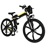 Folding Electric Mountain Bike 36V 250W,Electric Bicycle with 26″ Super Lightweight Magnesium Alloy 6 Spokes Integrated Wheel, Large Capacity Lithium-Ion Battery (Black Yellow-8AH)