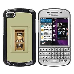 Paccase / SLIM PC / Aliminium Casa Carcasa Funda Case Cover para - Cartoon Man Grey Minimalist - BlackBerry Q10