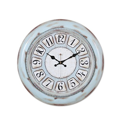 (The living room wall clock clock mute fashion watch watch old bedroom creative quartz clock,20 inches,Sky blue)