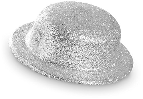 WIDMANN Bowler Hat?Glitter Unisex-adult, Silver, vd-wdm28042, One Size
