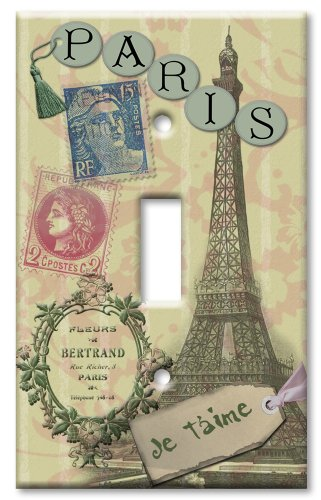 Single Gang Toggle Wall Plate - Paris Je T aime