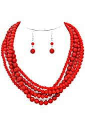 Simple Statement Beaded Layered Strand Coral Red Stone Lk Pearl Bead Necklace Earring Set Gift Bijoux R1
