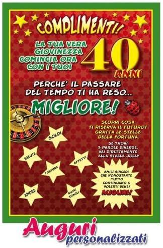 abbastanza Bombo Cartolina Compleanno Auguri 40 Anni: Amazon.it: Giochi e SI03