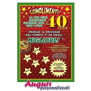 Cartolina Compleanno Auguri 40 Anni Amazon It Giochi E