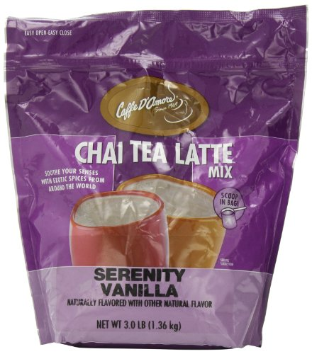 Latte Package (Caffe D?Amore Serenity Vanilla Chai Tea Latte Mix, 3-Pound)