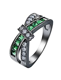 JBL Couple Promise Women Mystery Cross Fashion Love Eternity Gold Filled Vintage Wedding Birthday Stone Gifts Green Black Rings