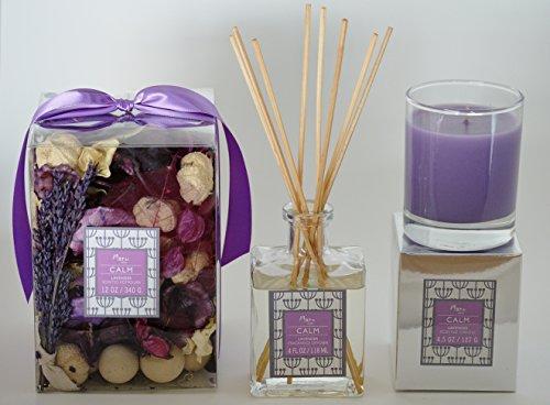 Manu-Home-Lavender-Gift-Set-Includes-CALM-Lavender-potpourri-12oz-Lavender-Candle-45oz-Lavender-Reed-Diffuser-4oz-8-Reeds-Sticks