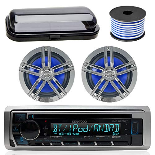 Kenwood Bluetooth CD Radio Receiver In-Dash Marine Boat Audio Bundle with Pair of Enrock 6.5