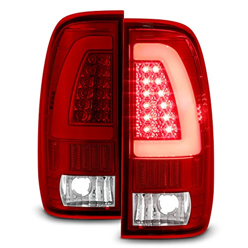 For 97-03 Ford F150 99-07 F250 F350 Super Duty Red Clear LED Tube Tail Lights Lamps Pair Left and Right (Duty 04 F350 Pickup)