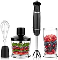 OXA Powerful 4-in-1 Immersion Hand Blender Set - Variable 6 Speed Control - Includes 500ml Food Chopper, Egg Whisk, and BPA-Free Beaker (600ml) - Black