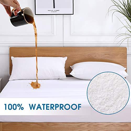 VODOF Full Size Premium 100% Waterproof Mattress Protector-Vinyl Free, Deep Pocket Stretch to 18 Cotton Terry Waterproof Mattress Cover