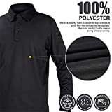MIER Men's Outdoor Performance Tactical Polo Shirts Long and Short Sleeve, Moisture-Wicking, Black, X-Large