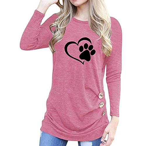 Baigoods Women Fashion O-Neck Love Dog Claw Appliques Long Sleeve Loose Tops T-Shirt Blouse