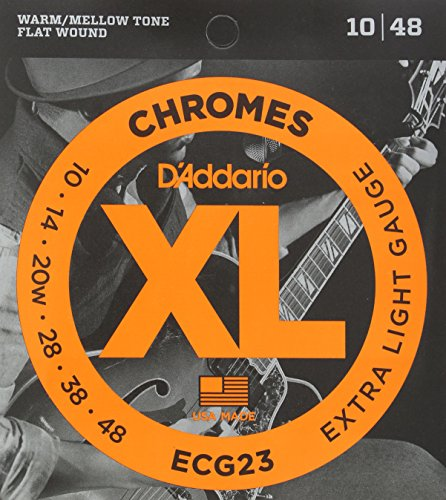 D'Addario ECG23 XL Chromes Flat Wound Electric Guitar Strings, Extra Light Gauge, 10-48 (1 Set) - Ribbon Wound and Polished for Ultra-Smooth Feel and Warm, Mellow Tone - Sealed Pouch Prevents Corrosion (Guitar Chrome Electric)