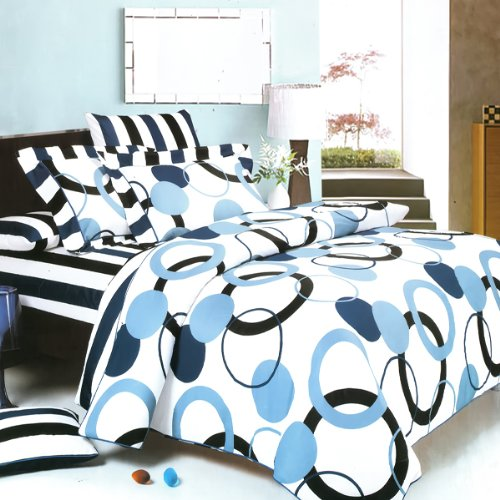 Blancho Bedding - [Artistic Blue] 100% Cotton 7PC MEGA Comforter Cover/Duvet Cover Combo (Queen Size) from Blancho Bedding