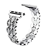 Wearlizer Silver Womens Compatible with Apple Watch Band 38mm 40mm iWatch Exclusive Corn-Block Stainless Steel Rhinestone Strap Luxury Beauty Wristband Replacement Metal Bracelet Series 4 3 2 1 Editi