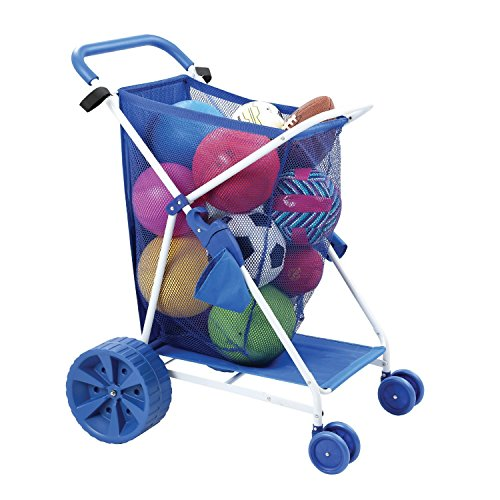 Folding Multi-Purpose Deluxe Beach Cart With Wide Terrain Wheels - Holds Your Beach Gear and ()