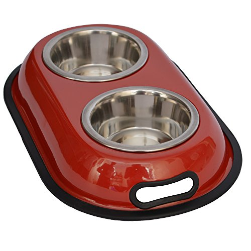 Iconic Pet 4-Cup Color Splash Stainless Steel Double Diner for Dog/Cat, 32-Ounce, Red by Iconic Pet (Image #1)