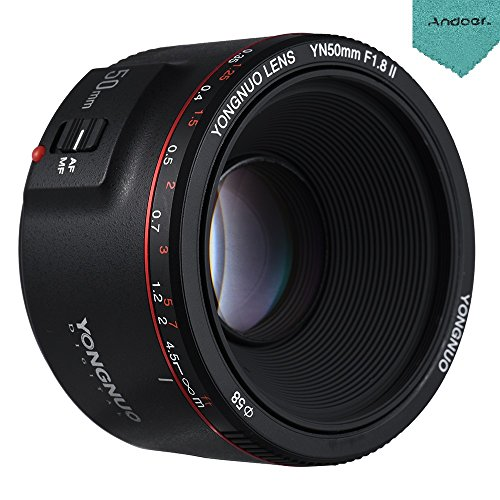 YONGNUO YN50mm F1.8 II Standard Prime Lens Large Aperture Auto Focus 0.35 Closest Focal Length for Canon EOS 70D 5D2 5D3 600D DSLR Camera with Andoer Cleaning Cloth by Yongnuo