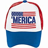 Old Glory Fourth of July Patriotic Spirit Men's Hat Accessory, Fabric, 6'' x 10'' x 4''