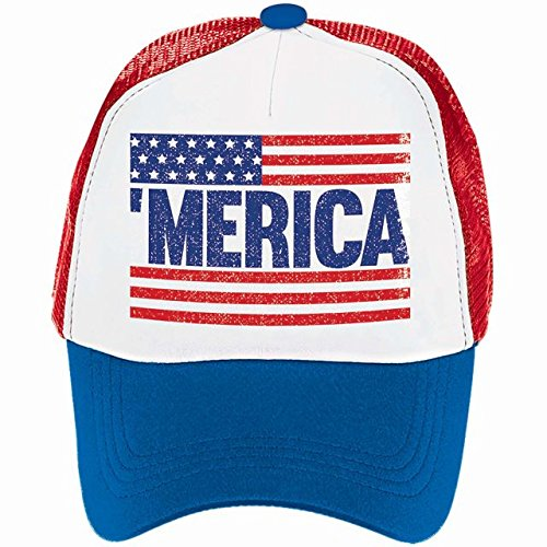 Old Glory Fourth of July Patriotic Spirit Men's Hat Accessory, Fabric, 6'' x 10'' x 4'' by Amscan
