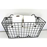 Multi Functional Black Metal Long Wire Wall Hanging Basket Bathroom Toilet Tissue Paper Roll Storage Holder