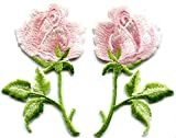 Light pink roses pair flowers floral embroidered appliques iron-on patches S-1257