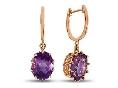 99516f8eb59ec Amazon.com: LALI Classics 14k Rose Gold Amethyst Oval Earrings: Jewelry