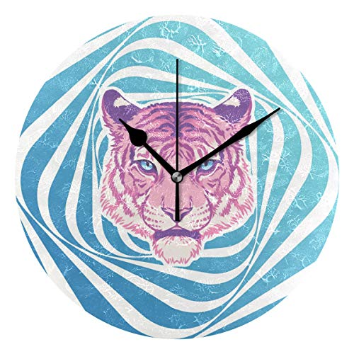 HCMusic Round Pink Tiger Wall Clock- Non Ticking Digital Quiet Sweep Clock, Decorative for Office Living Room Bedroom, 10 Inch