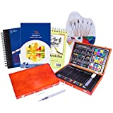 Painting & Sketch Art Supplies Kit - 93 Piece Deluxe Set with Wooden Case Includes Oil Pastels Watercolor Cakes Paint Brushes & Colored Drawing Pencils Great for Traveling & As a Gift to All Artists