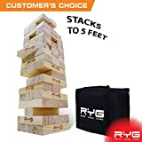 RYG Giant Wooden Toppling Tower, Large Tumbling Timbers, Wood Stacking Game Set with Carrying Case, Stack to 5+ Feet