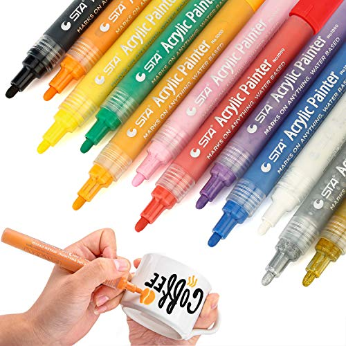 MISULOVE Acrylic Paint Marker Pens - Medium Point, Water-Based Permanent Markers for Rocks Painting, Glass, Wood, Fabric, Canvas, Metal, Mug, Body Painting, DIY Gift Craft Projects, 12 Colors/Set